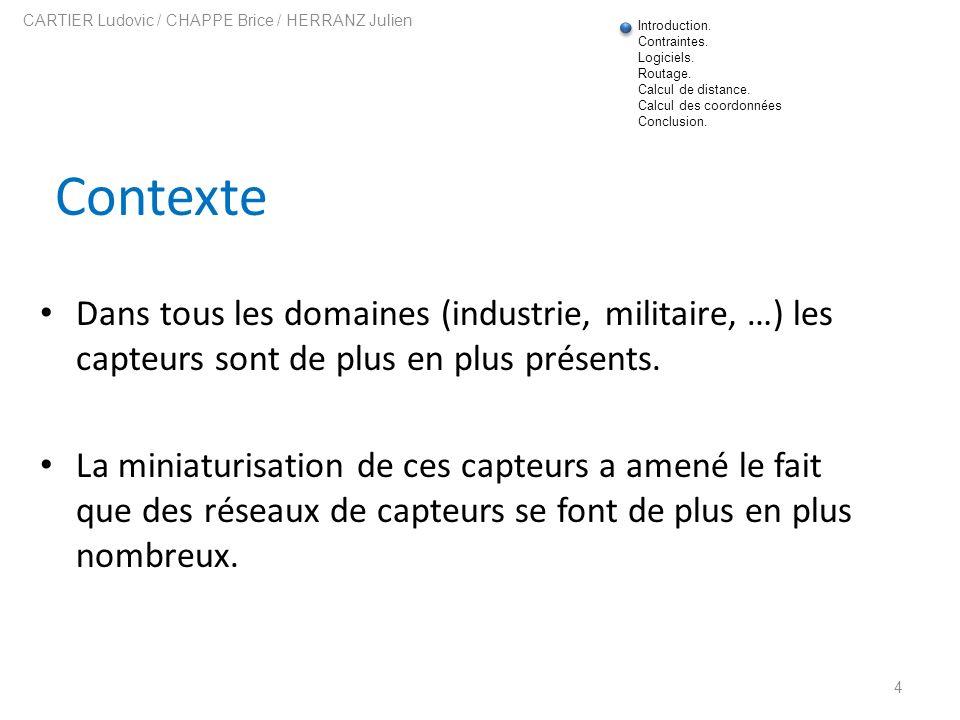 Communication entre capteurs 15 CARTIER Ludovic / CHAPPE Brice / HERRANZ Julien Le format dun message.