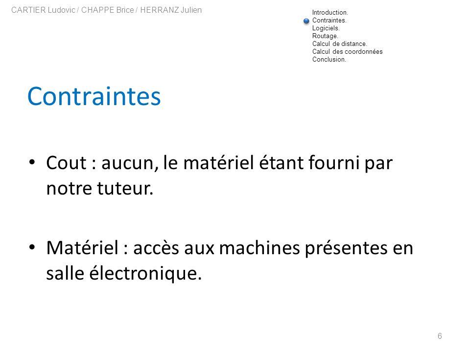 Contraintes Cout : aucun, le matériel étant fourni par notre tuteur. Matériel : accès aux machines présentes en salle électronique. 6 CARTIER Ludovic