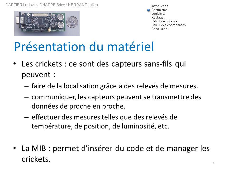 Présentation du matériel Les crickets : ce sont des capteurs sans-fils qui peuvent : – faire de la localisation grâce à des relevés de mesures. – comm