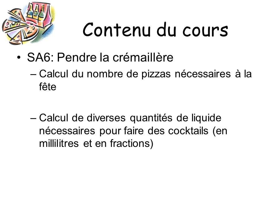 Contenu du cours SA6: Pendre la crémaillère –Calcul du nombre de pizzas nécessaires à la fête –Calcul de diverses quantités de liquide nécessaires pour faire des cocktails (en millilitres et en fractions)