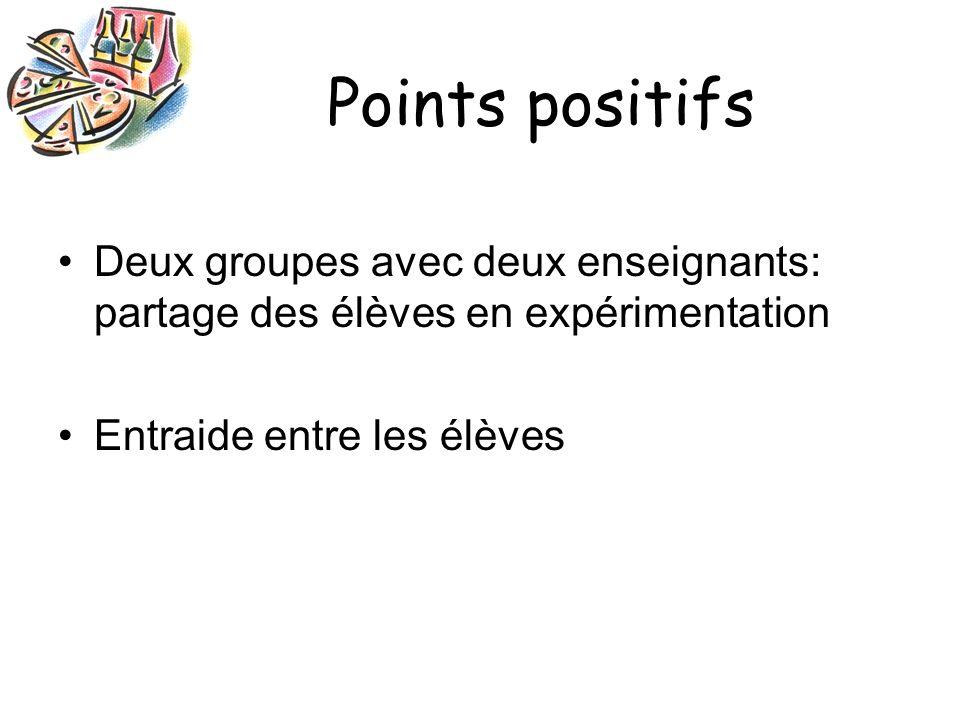 Points positifs Deux groupes avec deux enseignants: partage des élèves en expérimentation Entraide entre les élèves