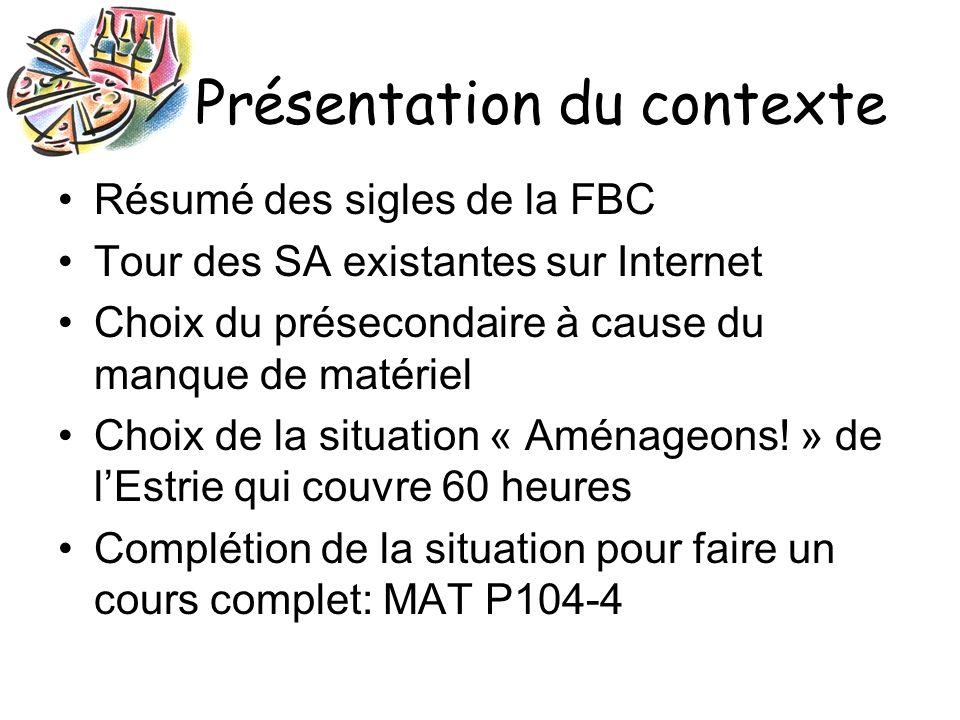 Présentation du contexte Analyse de la SA « Aménageons .