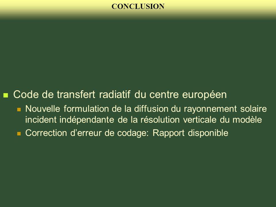 CONCLUSION Code de transfert radiatif du centre européen Nouvelle formulation de la diffusion du rayonnement solaire incident indépendante de la résol