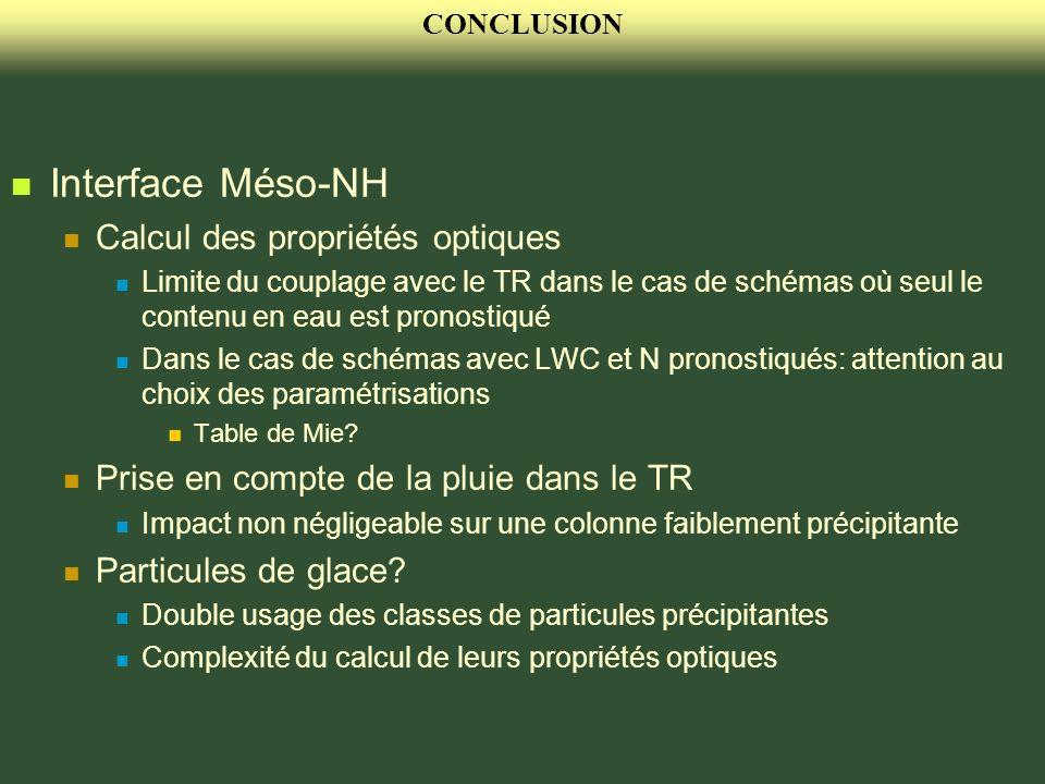 CONCLUSION Interface Méso-NH Calcul des propriétés optiques Limite du couplage avec le TR dans le cas de schémas où seul le contenu en eau est pronost