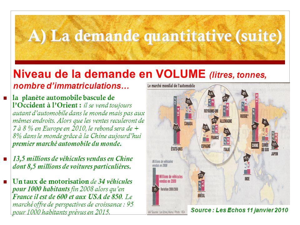 A) La demande quantitative (suite) la planète automobile bascule de lOccident à lOrient : il se vend toujours autant dautomobile dans le monde mais pas aux mêmes endroits.