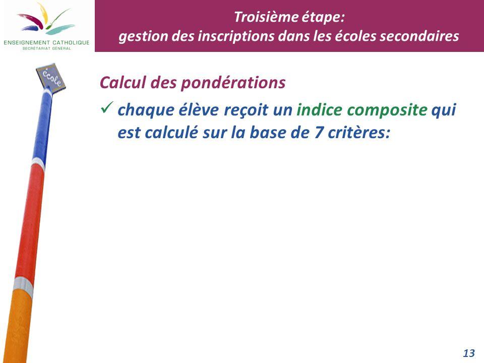 13 Calcul des pondérations chaque élève reçoit un indice composite qui est calculé sur la base de 7 critères: Troisième étape: gestion des inscription