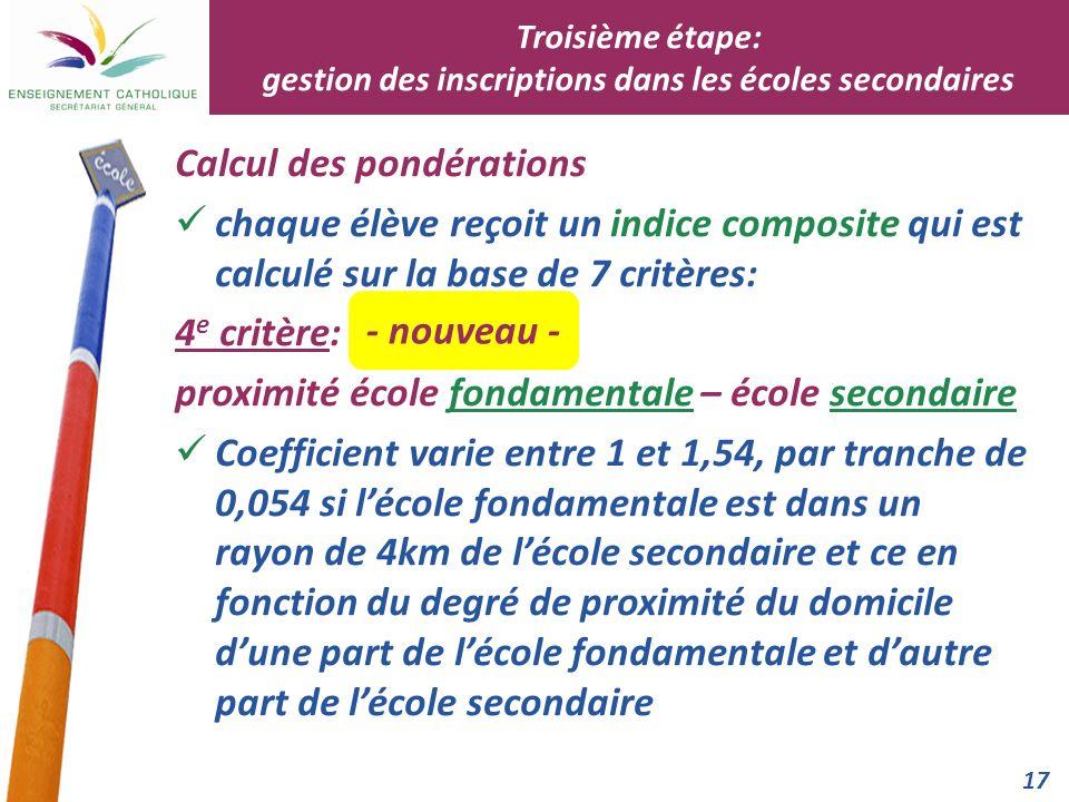 17 Calcul des pondérations chaque élève reçoit un indice composite qui est calculé sur la base de 7 critères: 4 e critère: proximité école fondamental