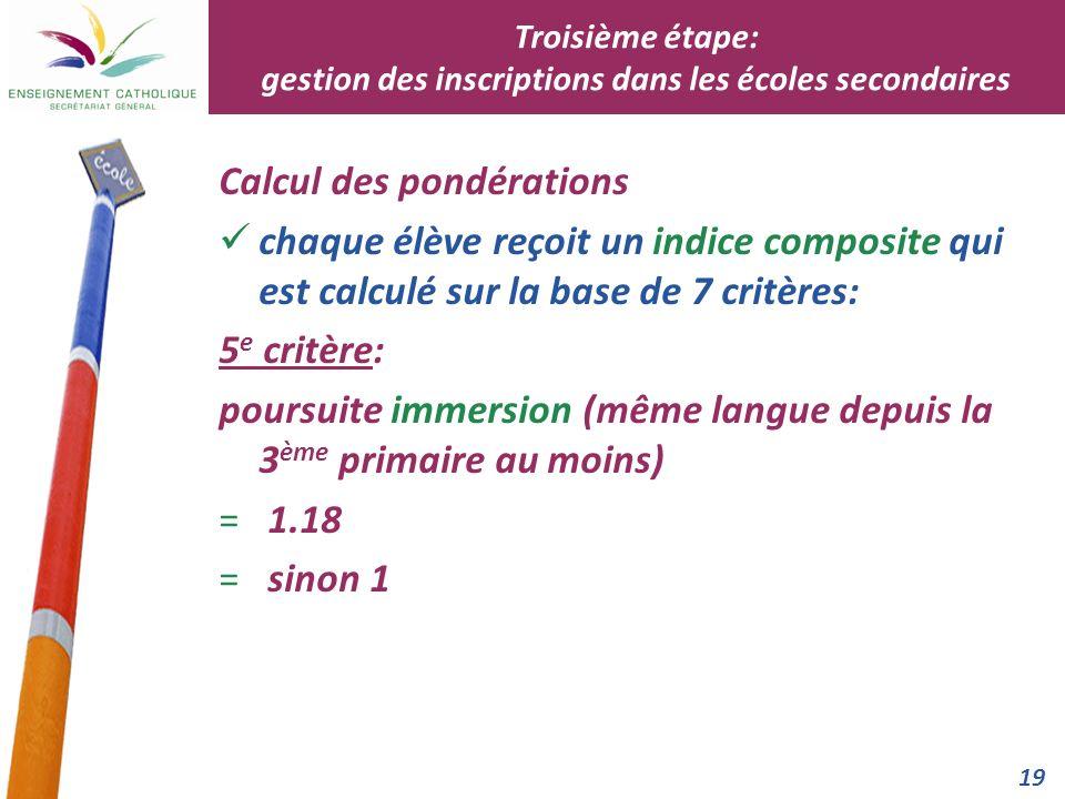 19 Calcul des pondérations chaque élève reçoit un indice composite qui est calculé sur la base de 7 critères: 5 e critère: poursuite immersion (même l