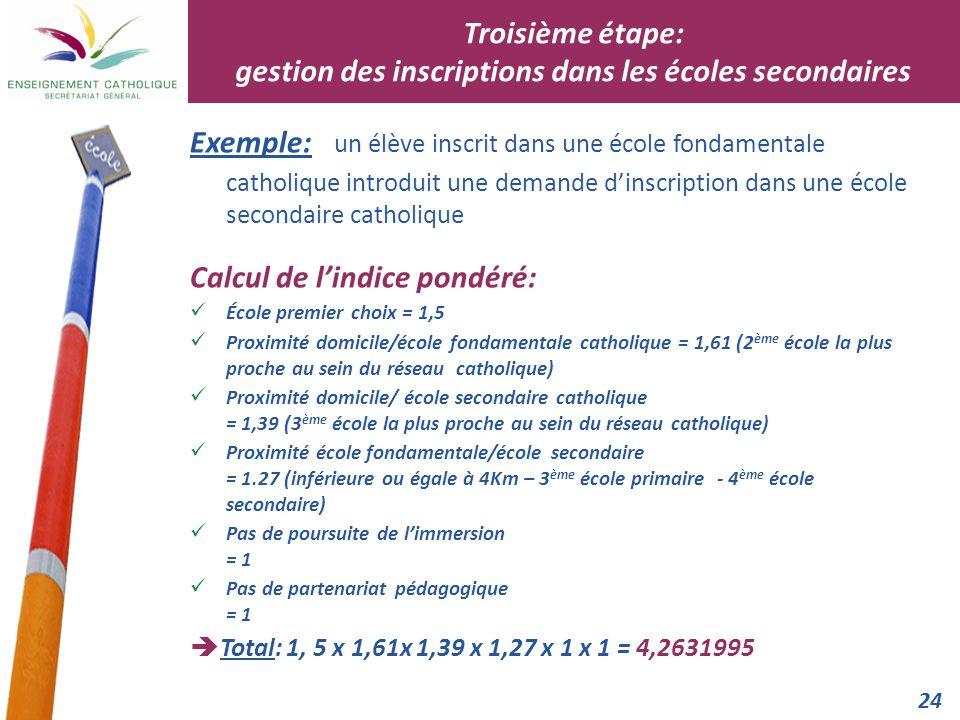24 Exemple: un élève inscrit dans une école fondamentale catholique introduit une demande dinscription dans une école secondaire catholique Calcul de
