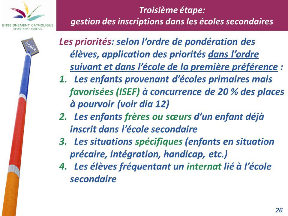 26 Les priorités: selon lordre de pondération des élèves, application des priorités dans lordre suivant et dans lécole de la première préférence : 1.