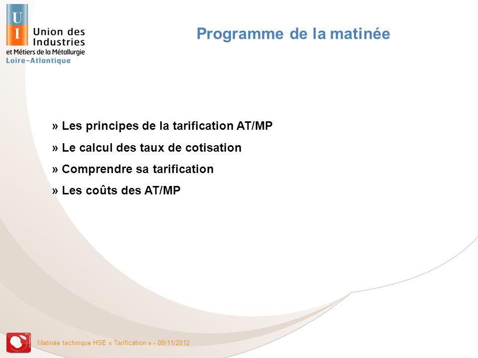Matinée technique HSE « Tarification » - 09/11/2012 Les principes de la tarification Eléments de classification Les 3 modes de tarification Le taux bureau La tarification unique