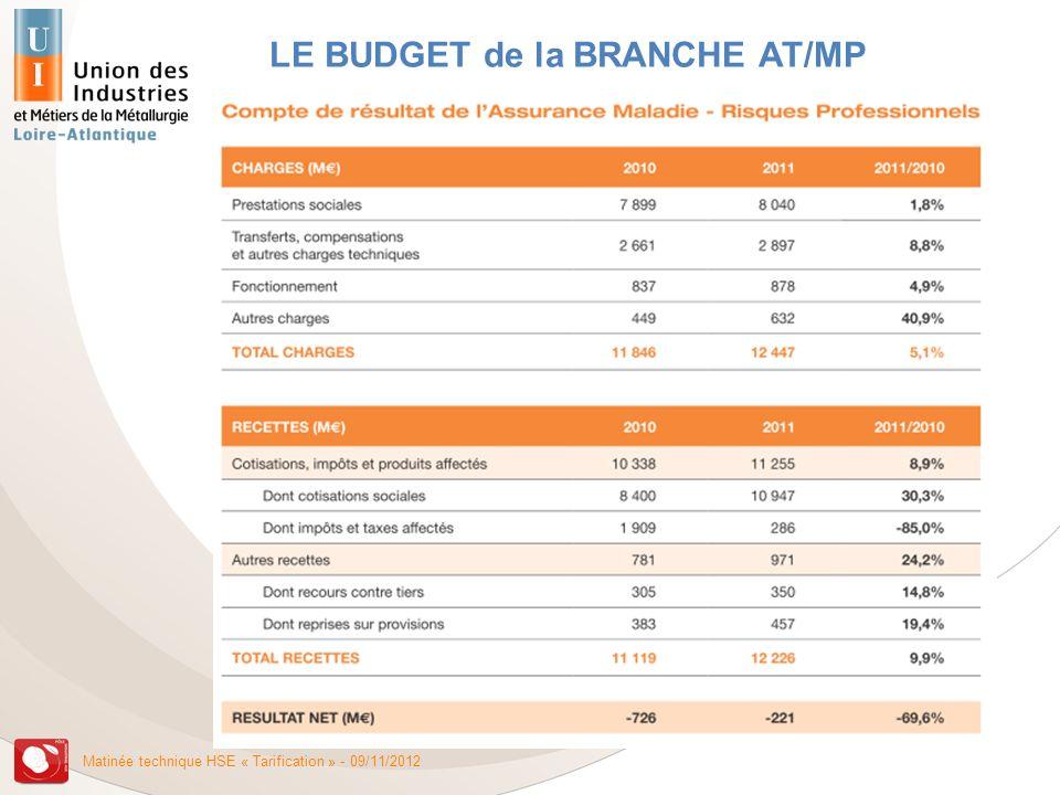Matinée technique HSE « Tarification » - 09/11/2012 LE BUDGET de la BRANCHE AT/MP
