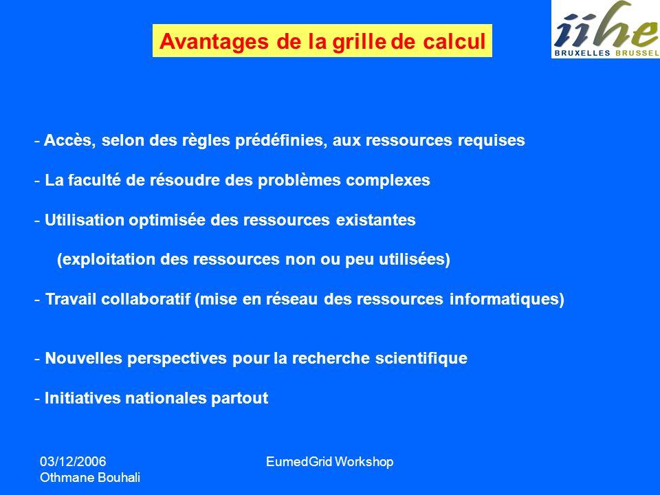 03/12/2006 Othmane Bouhali EumedGrid Workshop Avantages de la grille de calcul - Accès, selon des règles prédéfinies, aux ressources requises - La fac