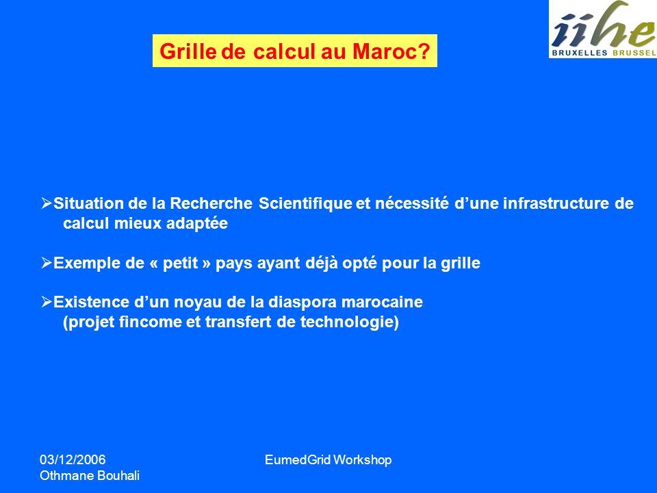 03/12/2006 Othmane Bouhali EumedGrid Workshop Grille de calcul au Maroc? Situation de la Recherche Scientifique et nécessité dune infrastructure de ca