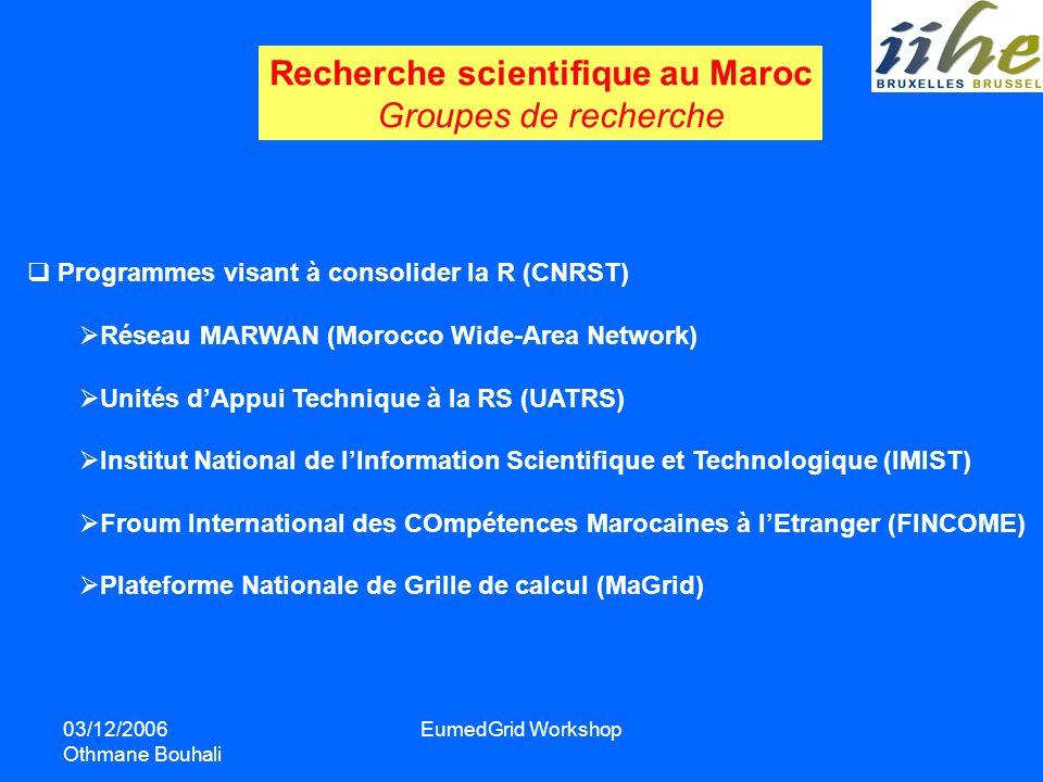 03/12/2006 Othmane Bouhali EumedGrid Workshop Recherche scientifique au Maroc Groupes de recherche Programmes visant à consolider la R (CNRST) Réseau