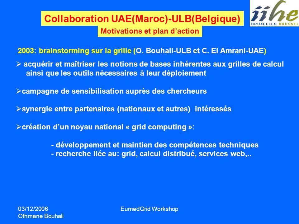 03/12/2006 Othmane Bouhali EumedGrid Workshop Collaboration UAE(Maroc)-ULB(Belgique) Motivations et plan daction acquérir et maîtriser les notions de
