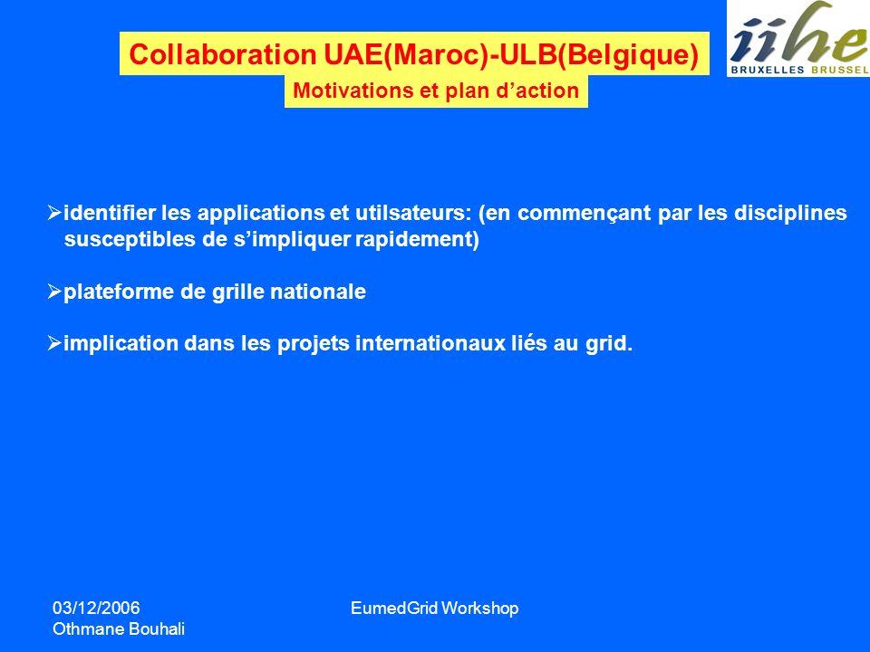 03/12/2006 Othmane Bouhali EumedGrid Workshop Collaboration UAE(Maroc)-ULB(Belgique) Motivations et plan daction identifier les applications et utilsa