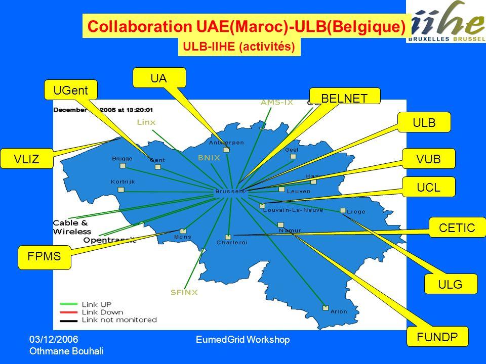 03/12/2006 Othmane Bouhali EumedGrid Workshop Collaboration UAE(Maroc)-ULB(Belgique) ULB-IIHE (activités) ULB VUB UCL CETIC FPMS VLIZ UGent UA BELNET