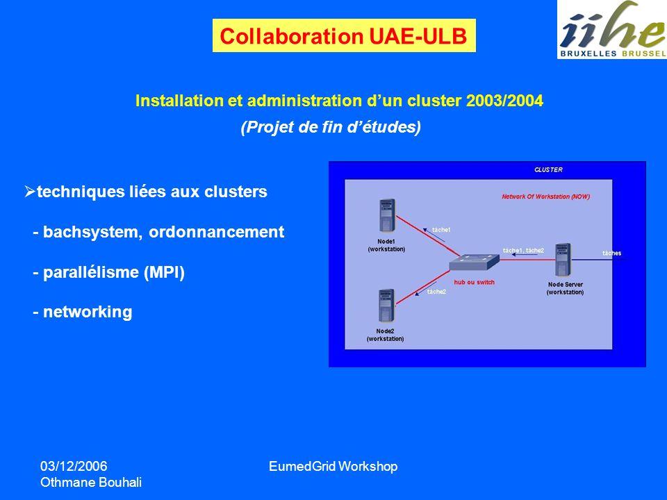 03/12/2006 Othmane Bouhali EumedGrid Workshop Collaboration UAE-ULB Installation et administration dun cluster 2003/2004 techniques liées aux clusters