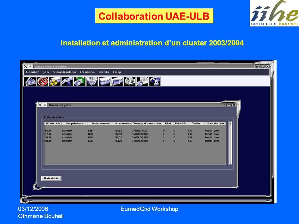 03/12/2006 Othmane Bouhali EumedGrid Workshop Installation et administration dun cluster 2003/2004 OS: Scientific Linux 3.0 gestionnaire de taches: Co