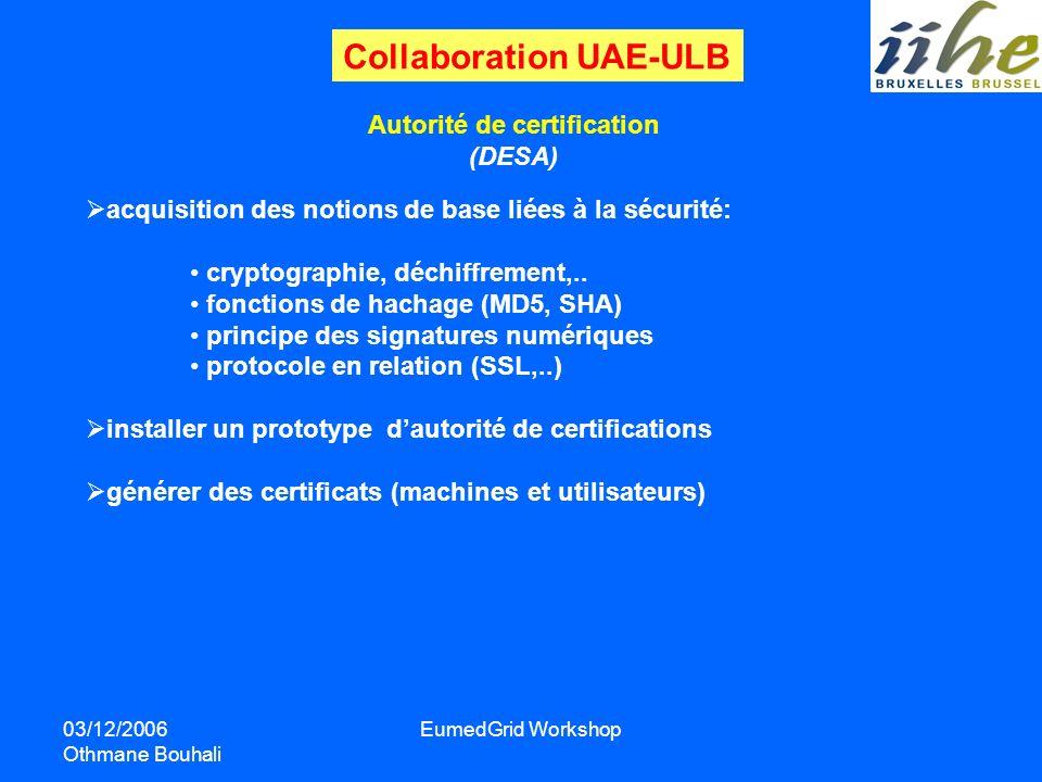 03/12/2006 Othmane Bouhali EumedGrid Workshop Autorité de certification (DESA) acquisition des notions de base liées à la sécurité: cryptographie, déc