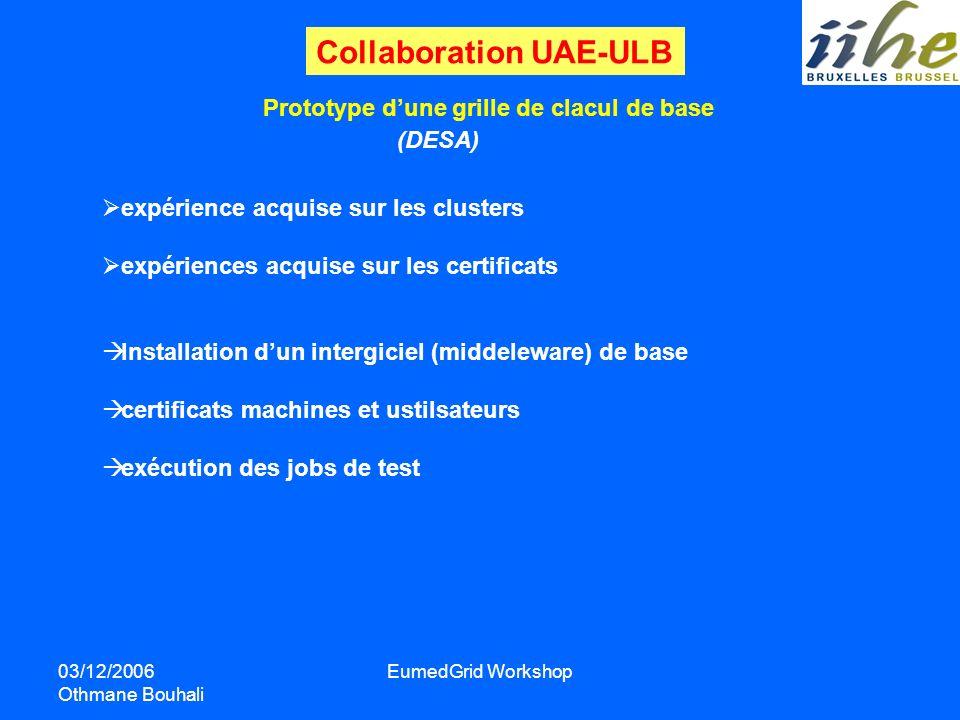 03/12/2006 Othmane Bouhali EumedGrid Workshop Prototype dune grille de clacul de base expérience acquise sur les clusters expériences acquise sur les