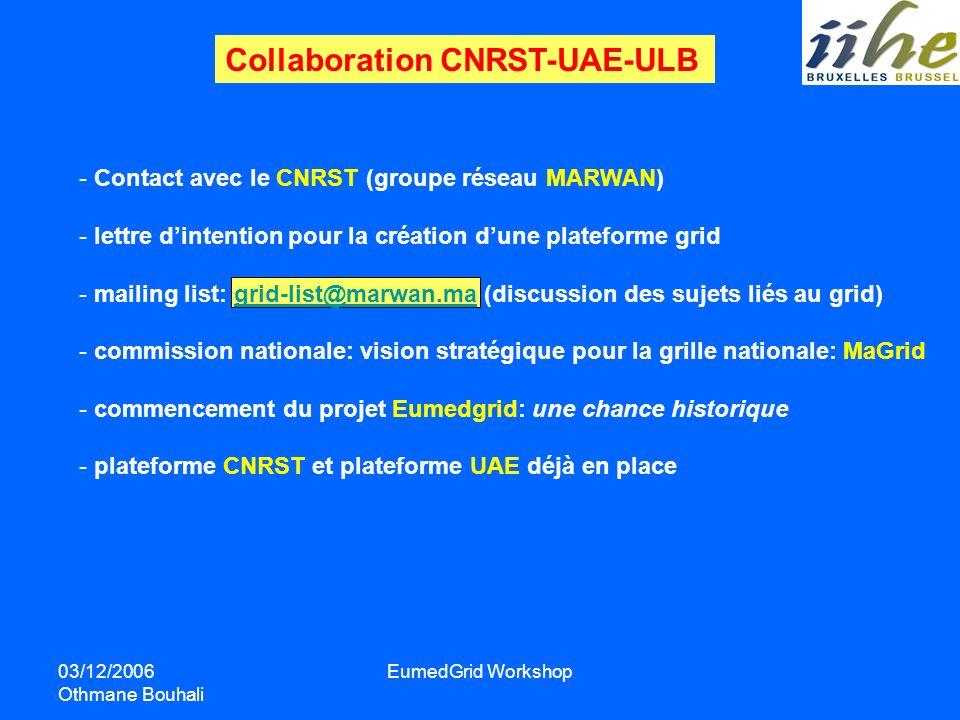 03/12/2006 Othmane Bouhali EumedGrid Workshop - Contact avec le CNRST (groupe réseau MARWAN) - lettre dintention pour la création dune plateforme grid