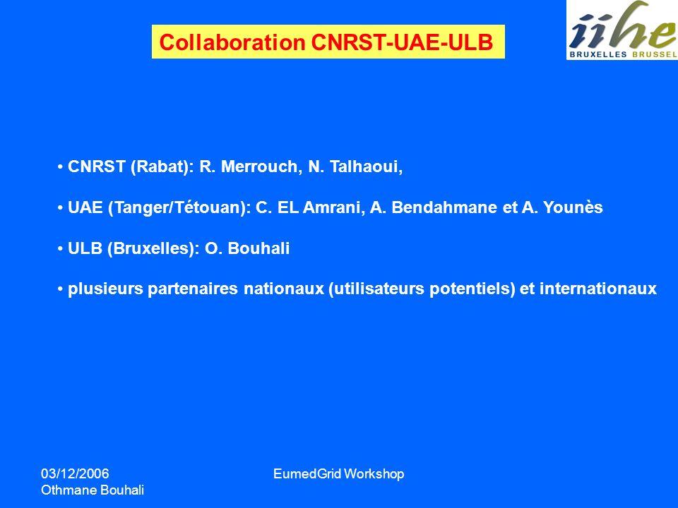 03/12/2006 Othmane Bouhali EumedGrid Workshop CNRST (Rabat): R. Merrouch, N. Talhaoui, UAE (Tanger/Tétouan): C. EL Amrani, A. Bendahmane et A. Younès