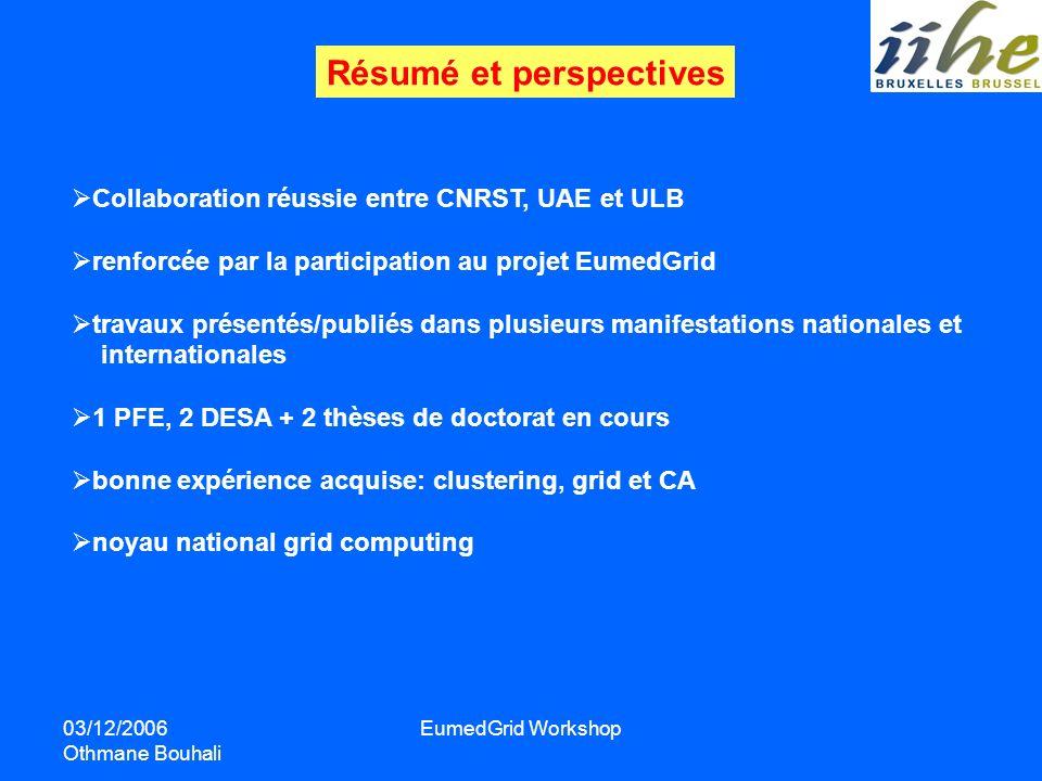 03/12/2006 Othmane Bouhali EumedGrid Workshop Résumé et perspectives Collaboration réussie entre CNRST, UAE et ULB renforcée par la participation au p