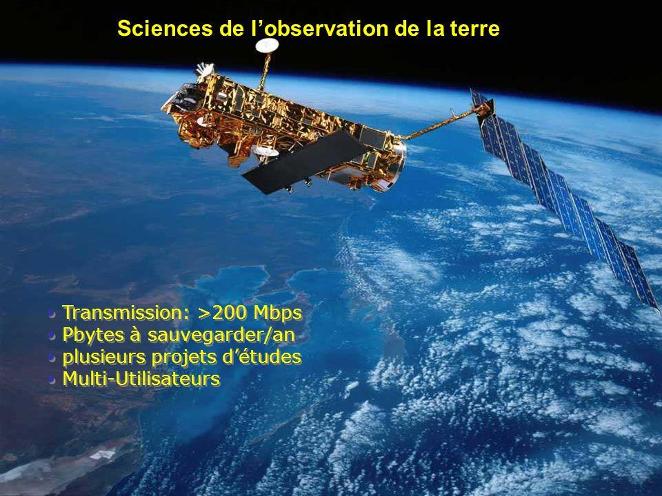 03/12/2006 Othmane Bouhali EumedGrid Workshop Transmission: >200 Mbps Pbytes à sauvegarder/an plusieurs projets détudes Multi-Utilisateurs Transmissio