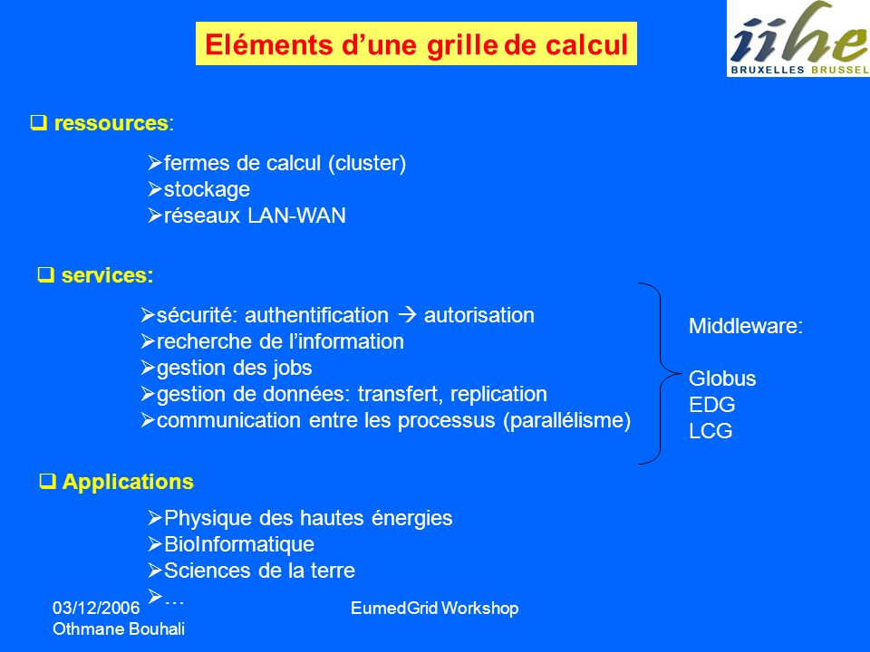 03/12/2006 Othmane Bouhali EumedGrid Workshop Eléments dune grille de calcul ressources: fermes de calcul (cluster) stockage réseaux LAN-WAN services: