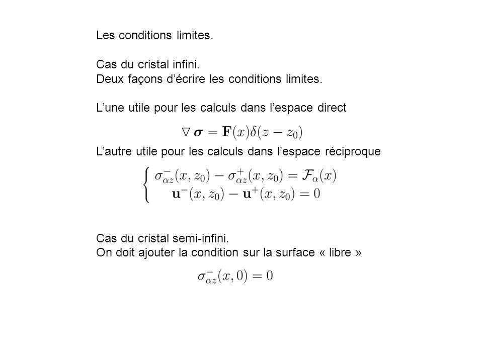 Les conditions limites. Cas du cristal infini. Deux façons décrire les conditions limites. Lune utile pour les calculs dans lespace direct Lautre util