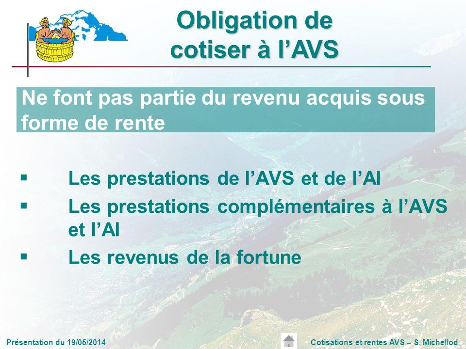 Présentation du 19/05/2014Cotisations et rentes AVS – S. Michellod Les prestations de lAVS et de lAI Les prestations complémentaires à lAVS et lAI Les