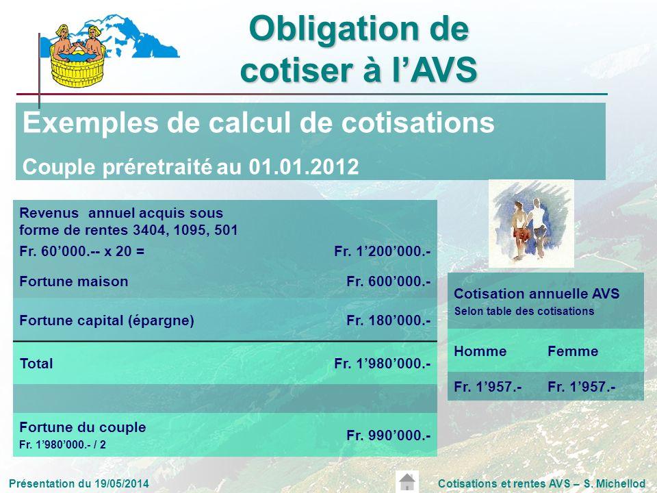 Présentation du 19/05/2014Cotisations et rentes AVS – S. Michellod Exemples de calcul de cotisations Couple préretraité au 01.01.2012 Revenus annuel a