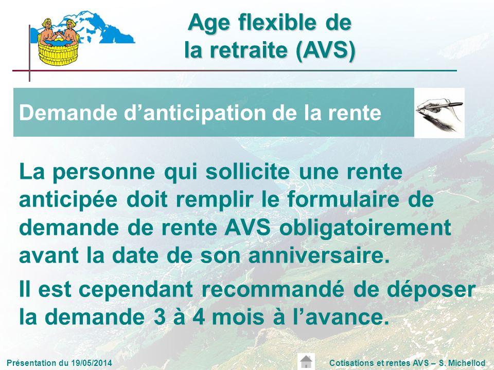 Présentation du 19/05/2014Cotisations et rentes AVS – S. Michellod La personne qui sollicite une rente anticipée doit remplir le formulaire de demande