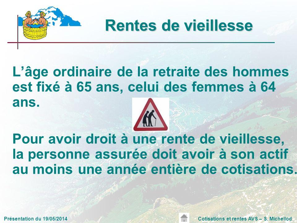Présentation du 19/05/2014Cotisations et rentes AVS – S. Michellod Rentes de vieillesse Lâge ordinaire de la retraite des hommes est fixé à 65 ans, ce
