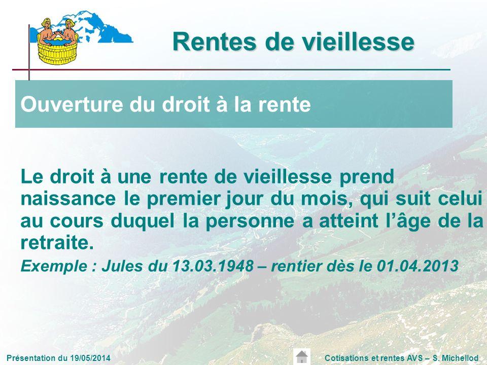 Présentation du 19/05/2014Cotisations et rentes AVS – S. Michellod Le droit à une rente de vieillesse prend naissance le premier jour du mois, qui sui