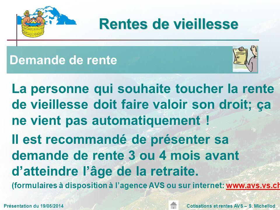 Présentation du 19/05/2014Cotisations et rentes AVS – S. Michellod La personne qui souhaite toucher la rente de vieillesse doit faire valoir son droit