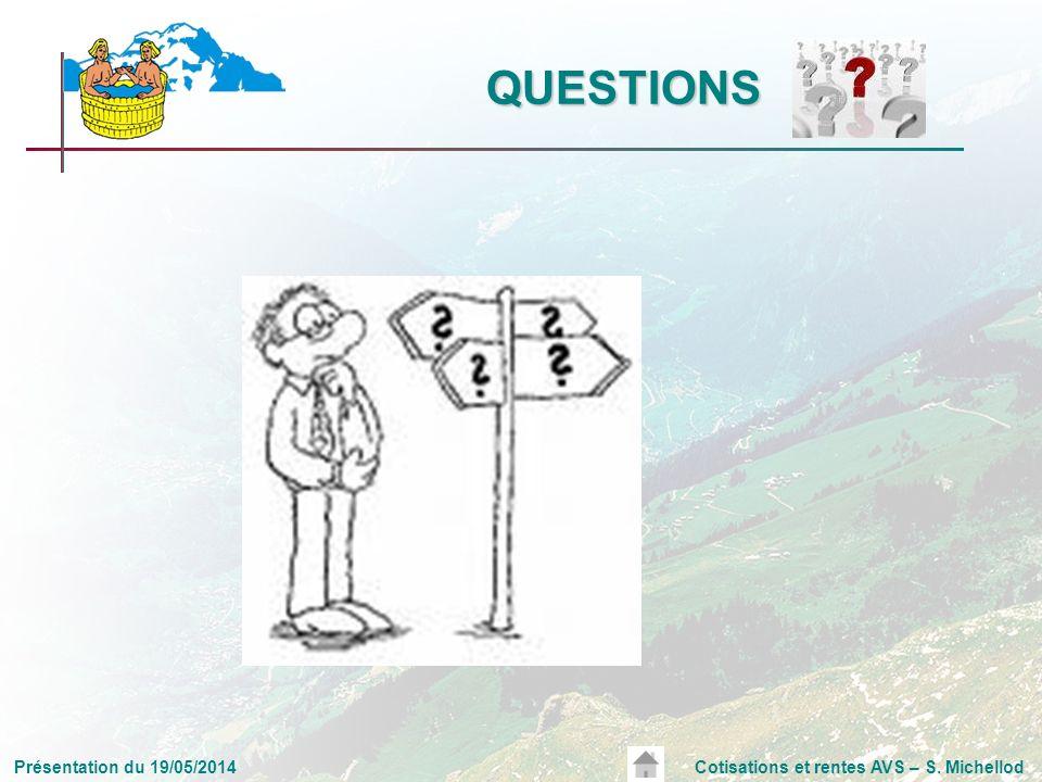 Présentation du 19/05/2014Cotisations et rentes AVS – S. Michellod QUESTIONS