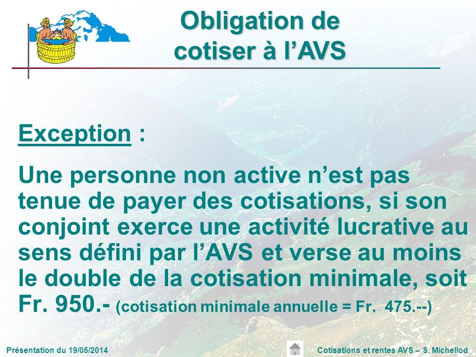 Présentation du 19/05/2014Cotisations et rentes AVS – S. Michellod Exception : Une personne non active nest pas tenue de payer des cotisations, si son