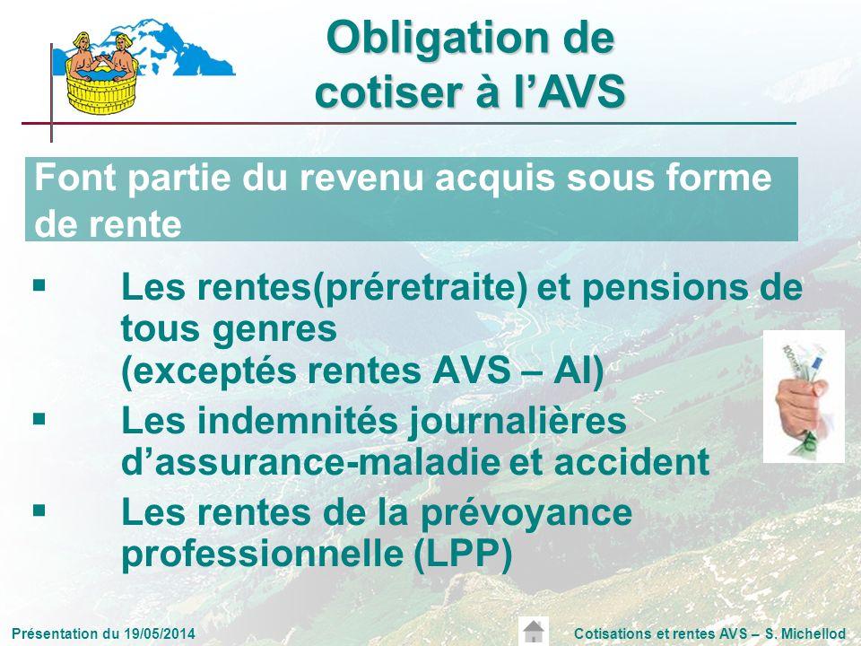 Présentation du 19/05/2014Cotisations et rentes AVS – S. Michellod Les rentes(préretraite) et pensions de tous genres (exceptés rentes AVS – AI) Les i