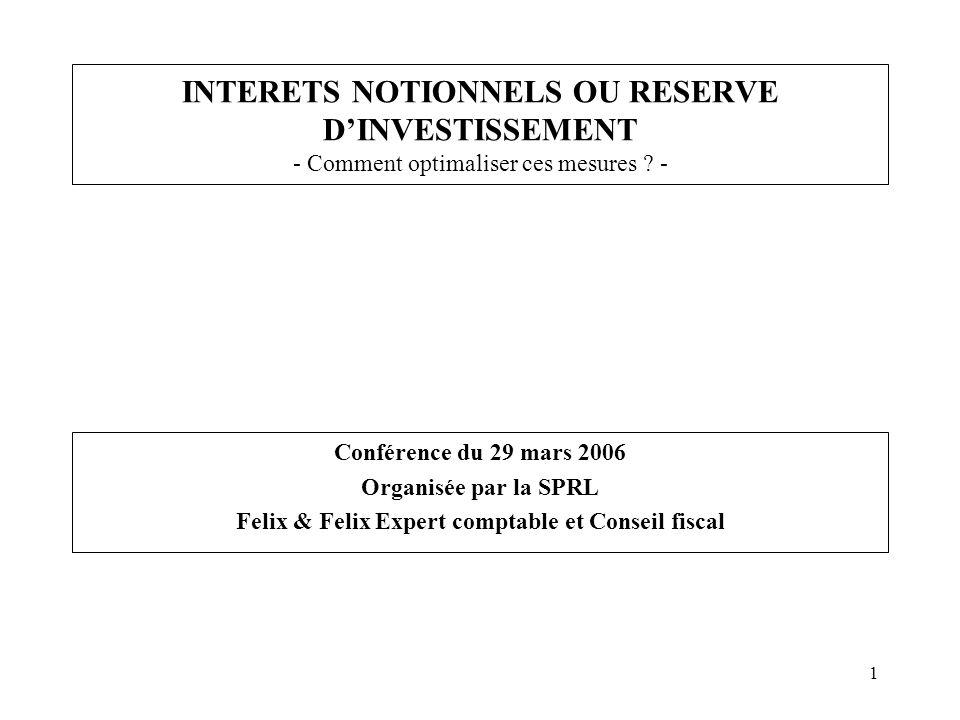 1 INTERETS NOTIONNELS OU RESERVE DINVESTISSEMENT - Comment optimaliser ces mesures ? - Conférence du 29 mars 2006 Organisée par la SPRL Felix & Felix