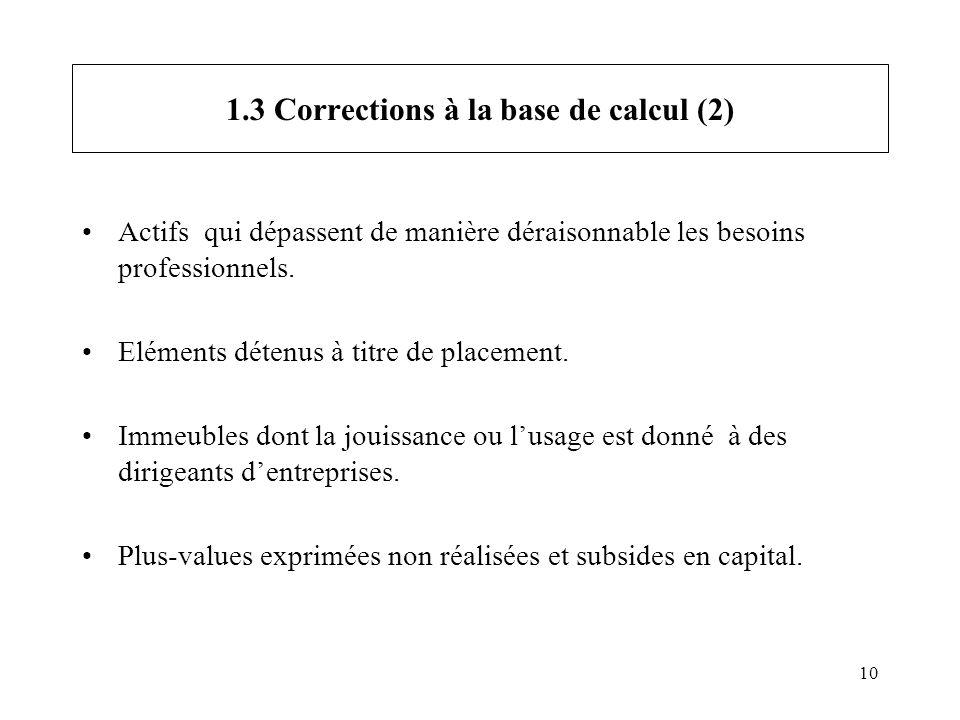 10 1.3 Corrections à la base de calcul (2) Actifs qui dépassent de manière déraisonnable les besoins professionnels. Eléments détenus à titre de place