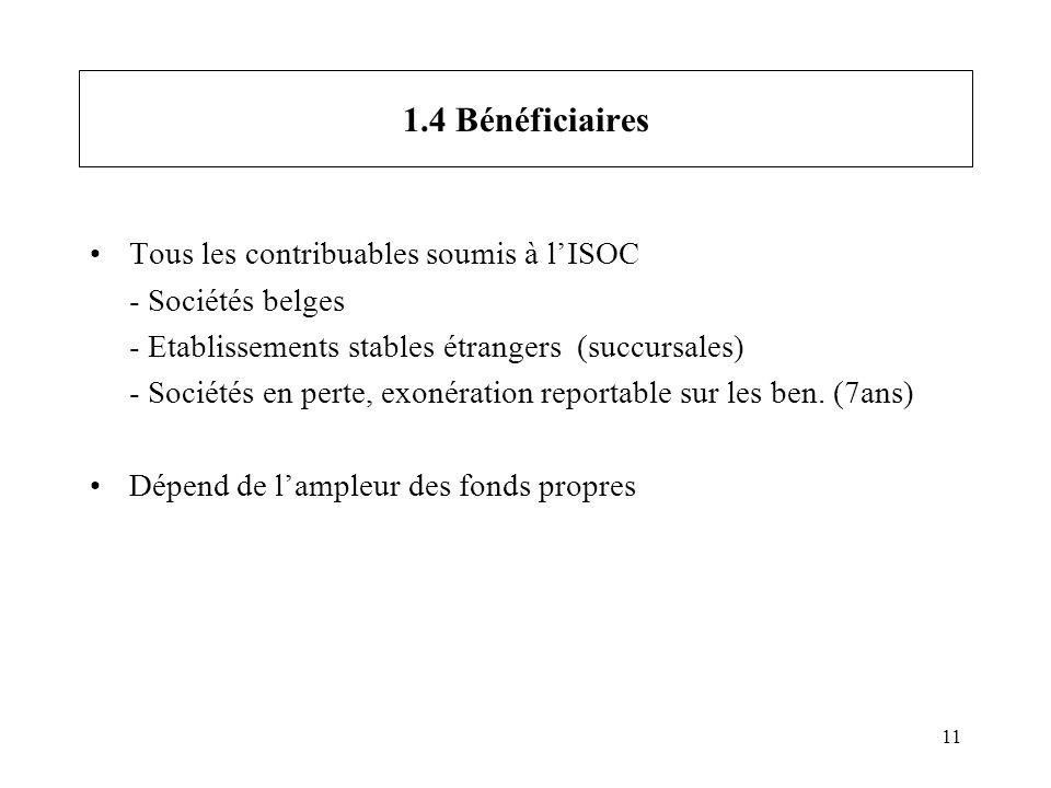 11 1.4 Bénéficiaires Tous les contribuables soumis à lISOC - Sociétés belges - Etablissements stables étrangers (succursales) - Sociétés en perte, exo