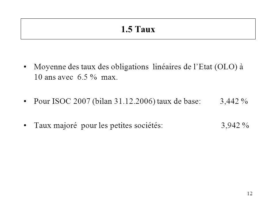 12 1.5 Taux Moyenne des taux des obligations linéaires de lEtat (OLO) à 10 ans avec 6.5 % max. Pour ISOC 2007 (bilan 31.12.2006) taux de base: 3,442 %