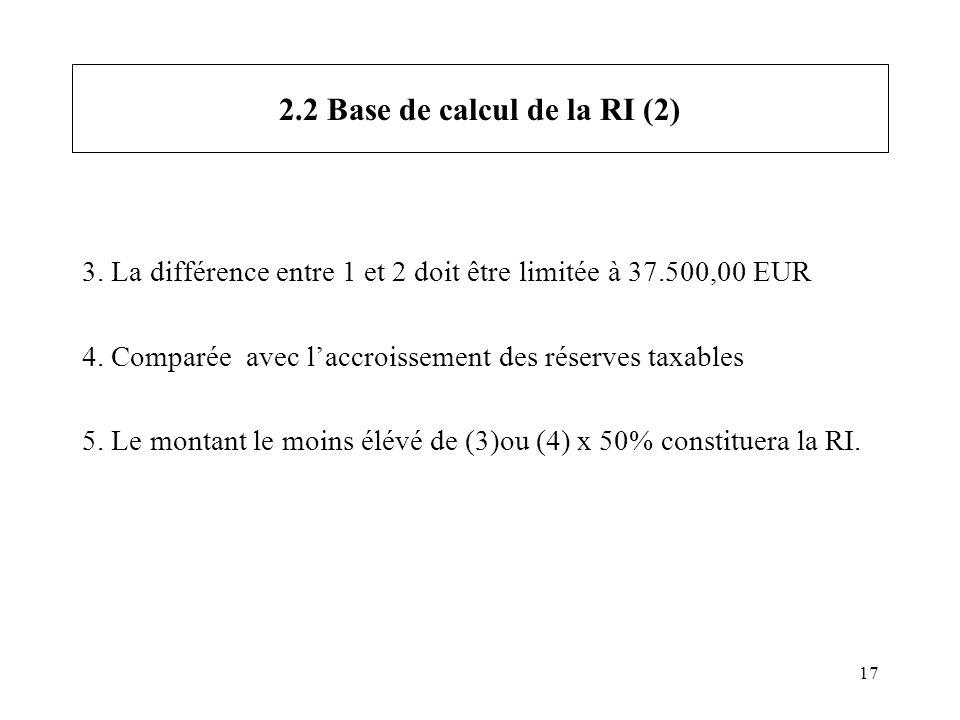17 2.2 Base de calcul de la RI (2) 3. La différence entre 1 et 2 doit être limitée à 37.500,00 EUR 4. Comparée avec laccroissement des réserves taxabl