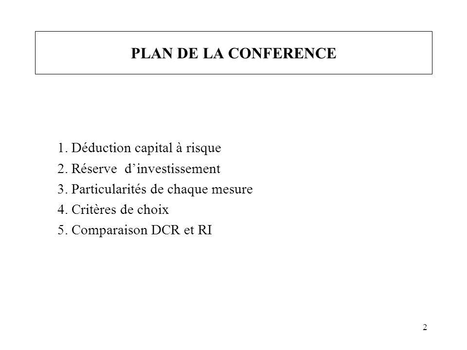 2 PLAN DE LA CONFERENCE 1. Déduction capital à risque 2. Réserve dinvestissement 3. Particularités de chaque mesure 4. Critères de choix 5. Comparaiso