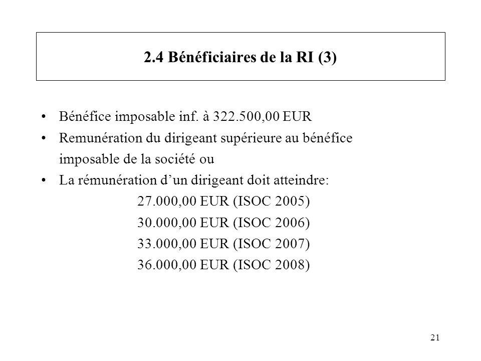 21 2.4 Bénéficiaires de la RI (3) Bénéfice imposable inf. à 322.500,00 EUR Remunération du dirigeant supérieure au bénéfice imposable de la société ou
