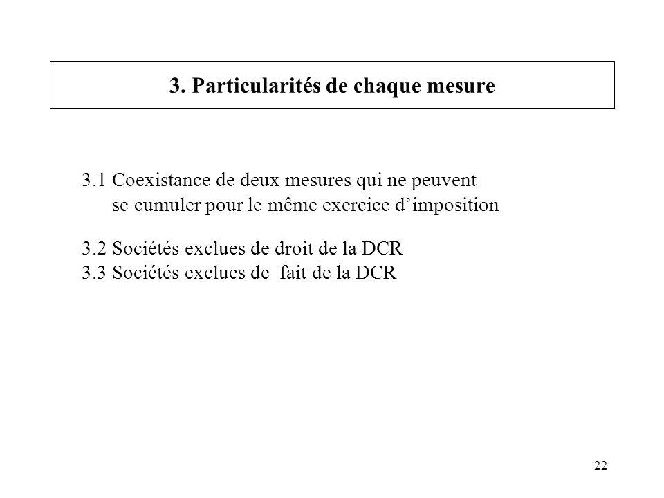 22 3.1 Coexistance de deux mesures qui ne peuvent se cumuler pour le même exercice dimposition 3.2 Sociétés exclues de droit de la DCR 3.3 Sociétés ex