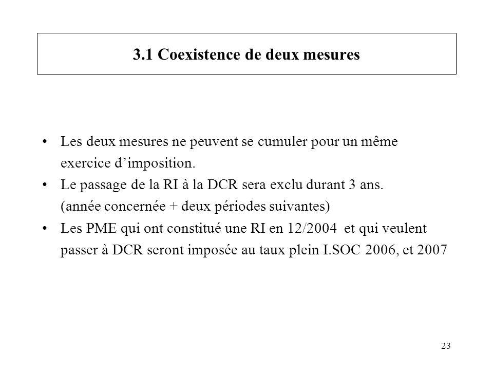 23 3.1 Coexistence de deux mesures Les deux mesures ne peuvent se cumuler pour un même exercice dimposition. Le passage de la RI à la DCR sera exclu d